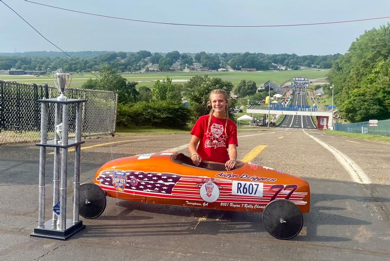 Aidyn Driggers 2nd Place All-American Soap Box Derby Rally Super Stock Champion at Derby Downs in Akron Ohio.